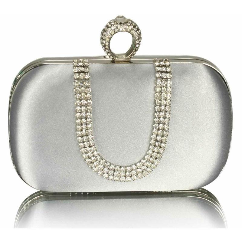 Silver Diamanté Hard Case Clutch Bag 591be588a